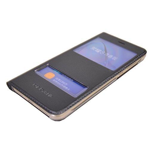 Huawei P8 Lite (2017) Funda,COOLKE Diseño de ventana Flip Funda Con Soporte Plegable Carcasa Funda Tapa Case Cover para Huawei P8 Lite (2017) /P9 Lite (2017), Honor 8 Lite, Nova Lite, GR3 (2017) - Ros Gris