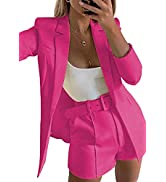 2 Piece Outfits for Women Long Sleeve Solid Open Front Blazer Shorts with Belt Casual Elegant Bus...