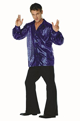 70s Disco Inferno - 70s Sequin Blue ,X-Large( 44 -48 -