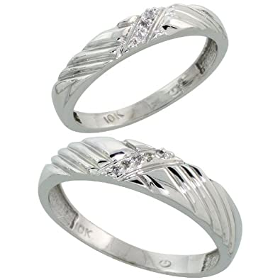 10k White Gold Diamond Wedding Rings Set for him 5 mm and her 3.5 mm 2-Piece 0.05 cttw Brilliant Cut, ladies sizes 5 – 10, mens sizes 8 – 14