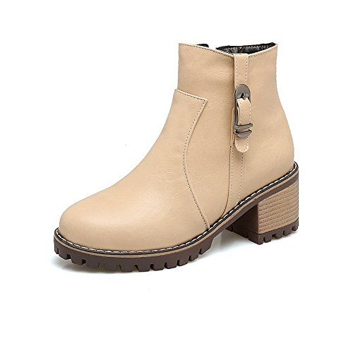 Boots Road Womens Leather Smooth Boots Kitten Top Weather Warm 1TO9 MNS02629 Lining Zip Bootie Beige Urethane Heel All Waterproof High TgqZWwd