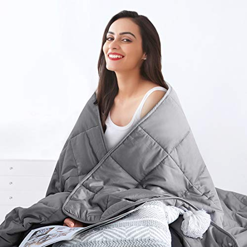 Cheap SOPAT Cooling Weighted Blanket for Adults & Premium Quality Breathability Heavy Blankets with Glass Beads(15 lbs 48 x72 Twin Size) Black Friday & Cyber Monday 2019