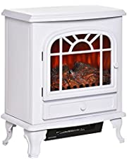 HOMCOM Freestanding Electric Fireplace Heater, Fireplace Stove with Realistic Flame Effect and Adjustable Temperature, Overheat Safety Protection, 750W/1500W, White