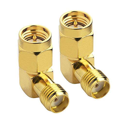 SMA Male to Female Right Angle 90-Degree Adapter Gold Plated Contacts Pack of 2