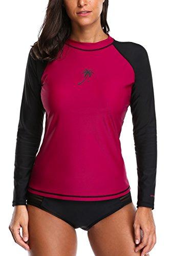 Vegatos Womens Rash Guard Shirt Long Sleeve Sports Training Swimsuit Beachwear Top L