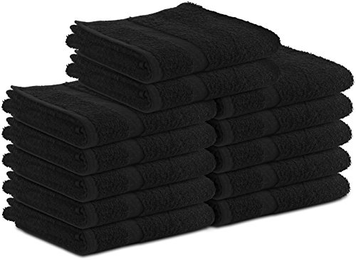 Cotton-Salon-Towels Gym-Towel Hand-Towel 24-Pack Black - (16 inches x 27 inches) Ringspun-Cotton, Maximum Softness and Absorbenc