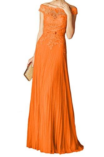 Spitzenkleider den Elegant Abendkleider Faltenwurf Partykleider Lang Schulter Bodenlang Ab Orange Milano Bride von Festkleider Fv0n17