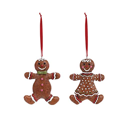 DEMDACO Gingerbread Boy & Girl 3 x 4 Inch Resin Christmas Ornaments 2 Piece Set