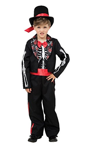 Kids 100 Day Costume (Childs Day Of The Dead Boy Costume Age 8 Years)