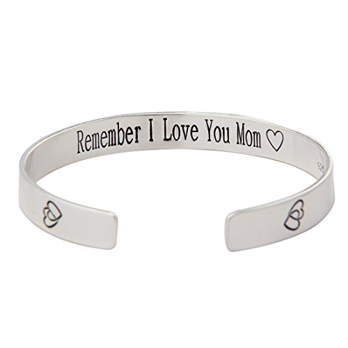 Childrens Flex Bangle Bracelet (Remember I love You Mom Forever and Always 925 Silver Plated Cuff Bracelet Bangle for Mom (Mom bangle))
