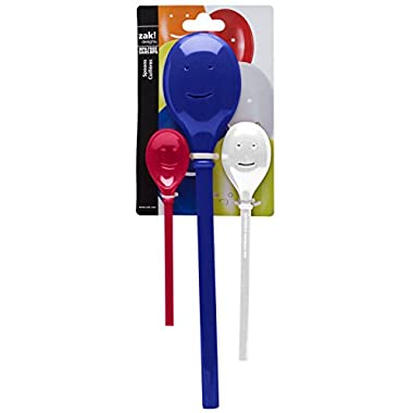 Zak Designs Happy Face Mixing and Serving Spoons (Set of 3), Red/White/Blue