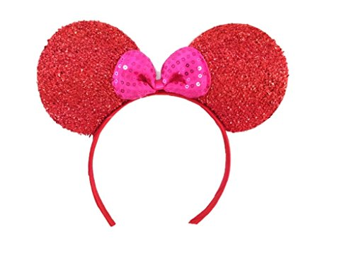 Ocean Dance Costumes (MeeTHan Red Mickey Mouse Minnie Mouse Sequin Ears Headband : M7 (RDP2))