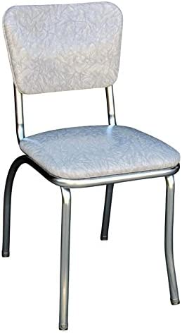Richardson Seating Retro Chrome Kitchen Chair with 1 Pulled Seat, NULL, Cracked Ice Gray