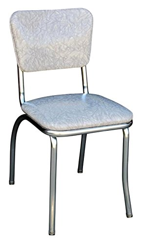 """Richardson Seating 4110CIG Retro Chrome Kitchen Chair with 1"""" Pulled Seat, Null, Cracked Ice Gray"""