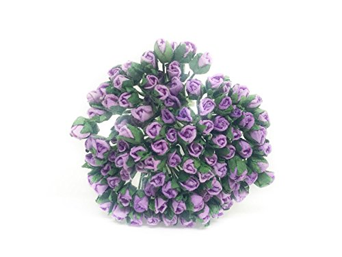 Lavender Mulberry - 1/2cm Lavender Purple Mulberry Paper Flowers, Purple Roses, Purple Wedding Flowers, Mulberry Flowers, Paper Rose Buds, DIY Bouquet, Scrapbooking Flowers 100 Pieces
