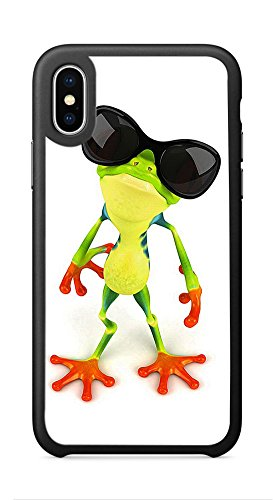 VUTTOO Case for Apple iPhone X 5.8inch - Funny Frog With Sunglasses Case - Shock Absorption Protection Phone Cover - Costly Sunglasses