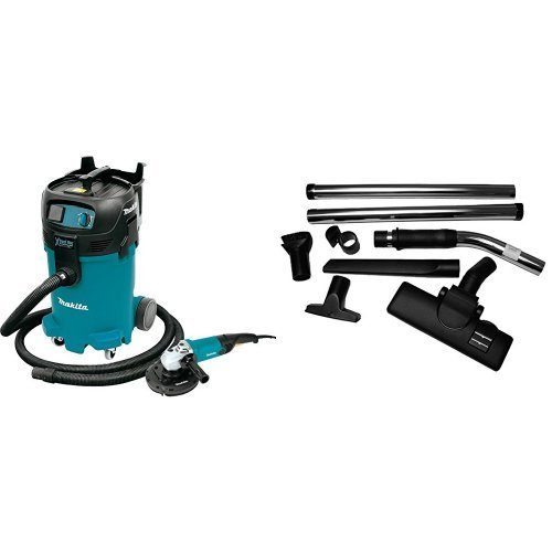 Makita VC4710X1 12 gallon Xtract Vac Wet/Dry Vacuum and 7 inch Angle Grinder with Dust Extracting Flooring Set, 8-Piece
