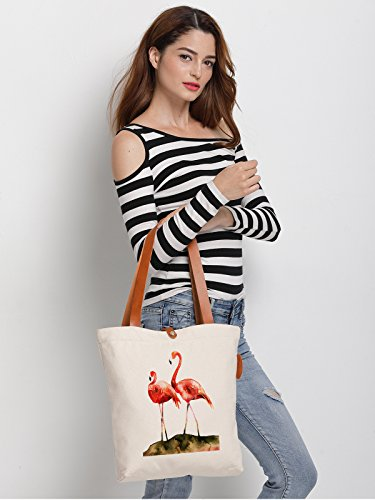 Art Handbag IN Bag Canvas Two RHAN Flamingo Womens Shoulder Bag Tote qapwprIY