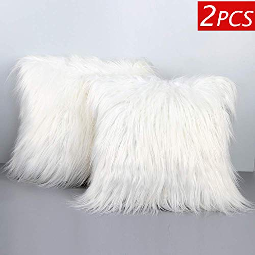 Aytai 2pcs Luxury Faux Fur Pillow Covers Soft Plush Throw Pillow Case Cushion Cover for Christmas Decoration Xmas Gift Home Decorative, 18inch x 18inch (Cover Only) (Shag Pillow White)