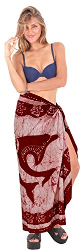 regalos sarong del batik mano del abrigo del traje de baño de baño, pareo hawaiano traje traje de baño para mujer ropa de playa encubrir granate