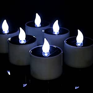 Solar Candles Lights, Lemon Hour Outdoor LED Solar Tea Lights with Romantic Atmosphere, Solar Energy Candle Lamp for Home, Party, Decor, Cool White Flickering, 6 Pack