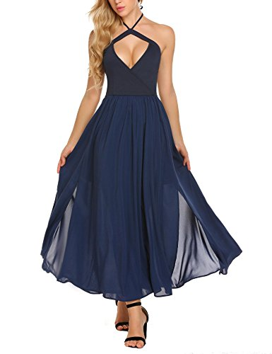 ANGVNS Women's Chiffon Spaghetti Strap Open Back Halter Maxi Dress Gown (Back Top Slit)