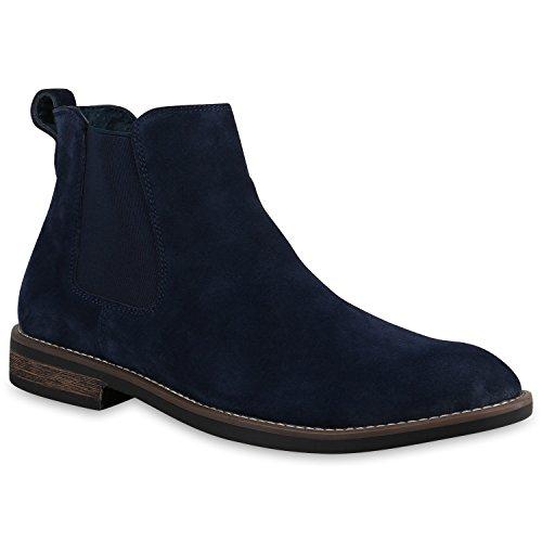 Stiefelparadies Herren Chelsea Boots Echtleder Schuhe Stiefeletten Holzoptikabsatz Flandell Dunkelblau
