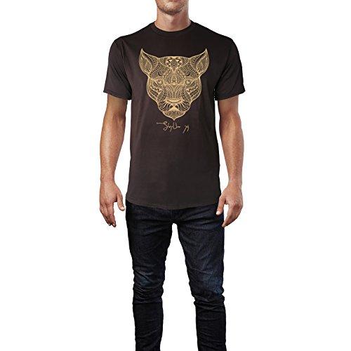 SINUS ART ® Kopf einer Löwin im Ethno Stil Herren T-Shirts in Schokolade braun Fun Shirt mit tollen Aufdruck