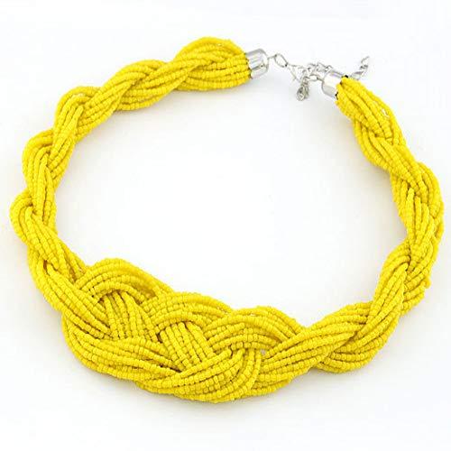 IIUUGG Necklace Statement Jewelry Women Fashion Boho Vintage Bohemian Resin Beaded Choker Necklaces Pendants ()