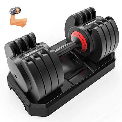 IPOW Adjustable Dumbbell 5-25/6.6-44 LB Single Black Dumbbell Set with Tray for Men Women|Anti-Slip Silicone Covered…