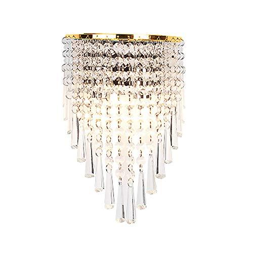 HJXDtech Hoogwaardige kristallen gordijn wandlamp, klassieke wandlamp in gouden afwerking voor de woonkamer aan bed…