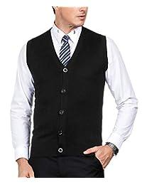 PAUL JONES Men's Knitting Vest Stylish & Slim Fit Pullover Sleeveless V-Neck