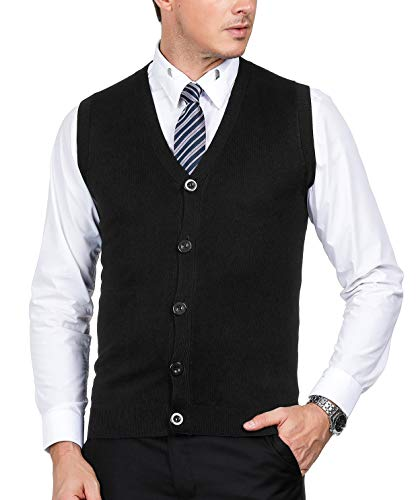 PAUL JONES Men's Casual Sweater Vests Sleeveless(Black-146,XXL) - Knit Black Vest