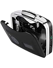 EXCEART USB Cassette to MP3 Converter with USB Cable Portable Cassette Player Recorder Without Battery (Black)