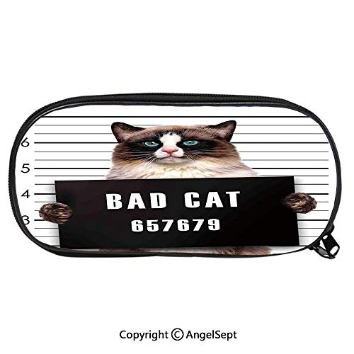 (Unisex Student Pencil Case Pen BoxBad Gang Cat in Jail Kitty Under Arrest Prisoner Hangover Artsy Work Stationery Bag Cartoon Pouch Bags with Double Zippered for Girls BoyBrown Black White)