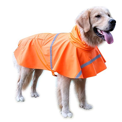 NACOCO Large Dog Raincoat Adjustable Pet Water Proof Clothes Lightweight Rain Jacket Poncho Hoodies with Strip Reflective (M, Orange)