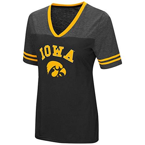 Black Iowa Hawkeyes Football Jersey - Colosseum Women's NCAA Varsity Jersey V-Neck T-Shirt-Iowa Hawkeyes-Black-Medium