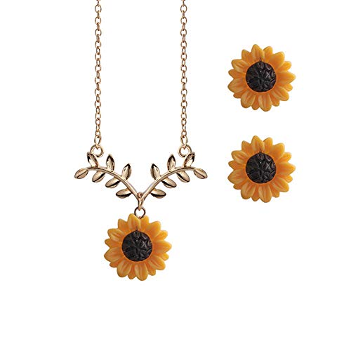 AMAZYJ Sunflower Resin Boho Handmade Drop Earrings Pendant Necklace Set Sunflower Sun flowerChoker Necklace for Women Girls (Gold ()