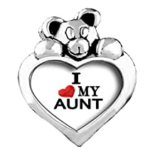 I Heart MY AUNT Red Zircon Crystal July Birthstone I Love You Heart Care Bear Charm Beads Bracelets