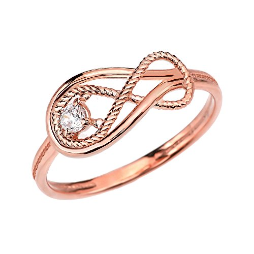 (Diamond Rope Infinity 10k Rose Gold Ring(Size)