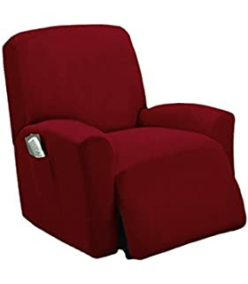 Golden Linens Burgundy Color One Piece Stretch Recliner Chair Furniture  Slipcovers With Remote Pocket Fit Most