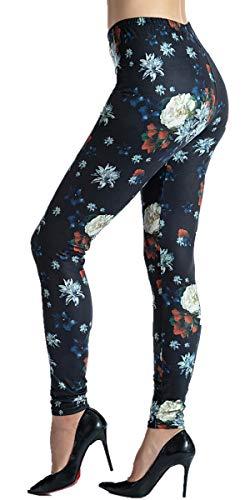 Ndoobiy Women's Printed Leggings Full-Length Regular Size Yoga Workout Leggings Pants Soft Capri L1(Dark Flower OS)