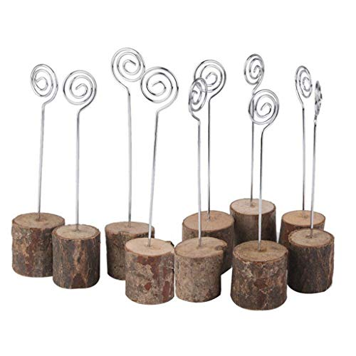 youeneom Wooden Base Place Card Holders, Rustic Iron Wire Picture Picks Clip Holder Stand, Ideal for Wedding Christmas/Halloween/Wedding/Party/Birthday Decorations (A) ()