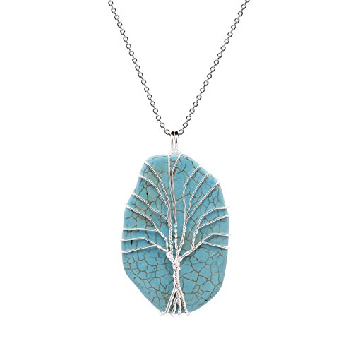 (Paialco Hand Wired Tree of Life Big Blue Turquoise Pendant Necklace )