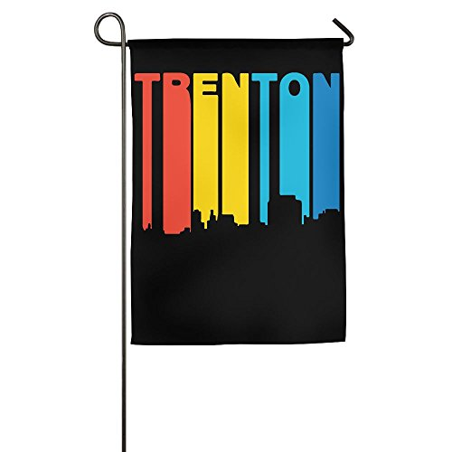 TT&Flag Retro 1970's Style Trenton New Jersey Skyline Printed Outdoor/Indoor Garden Flag For Wedding Anniversary