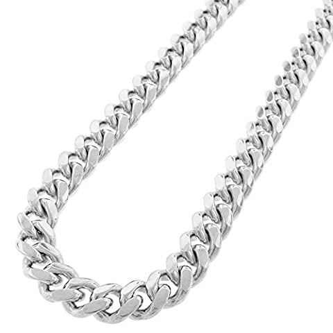 Sterling Silver 12.5mm Miami Cuban Curb Link Thick Solid 925 Rhodium Chain Necklace 24