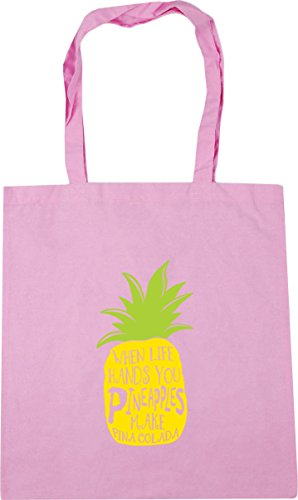 HippoWarehouse When Life Hands You Pineapples Make Pina Colada Tote Shopping Gym Beach Bag 42cm x38cm, 10 litres Classic Pink