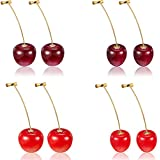 4 Pairs Cherry Earrings Cherry Sweet Earrings 3D Cherry Dangle Earrings with 10 Pieces Ear Lines for Women
