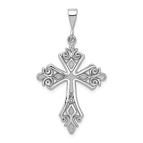 - 14k White Gold Fleur De Lis Cross Religious Pendant Charm Necklace Fine Jewelry Gifts For Women For Her