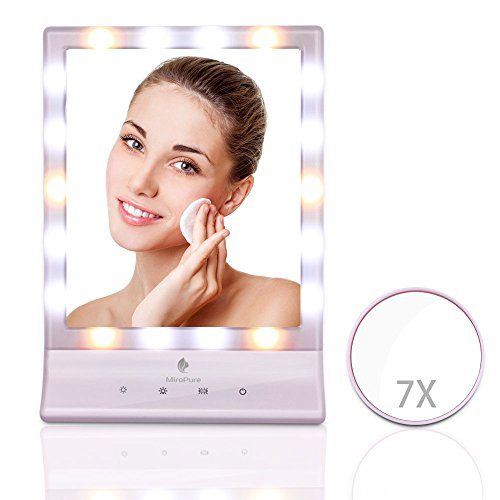 MiroPure Lighted Makeup Mirror, Vanity Mirror with 7x Magnifying Spot Travel Mirror, 18 LED lights Dimmable, Dual Power Supply, Touch Panel, Wall Mounted